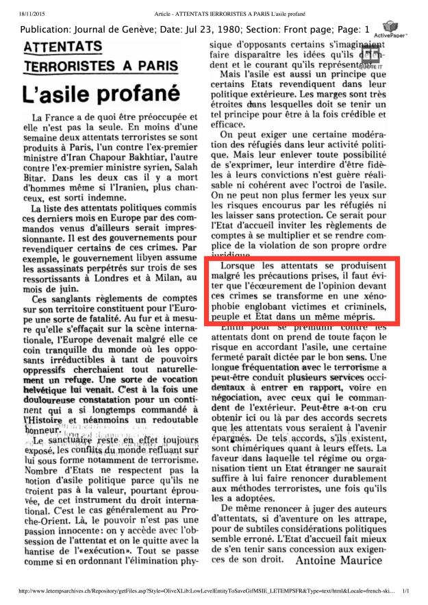 Article - ATTENTATS IERRORISTES A PARIS L'asile profané