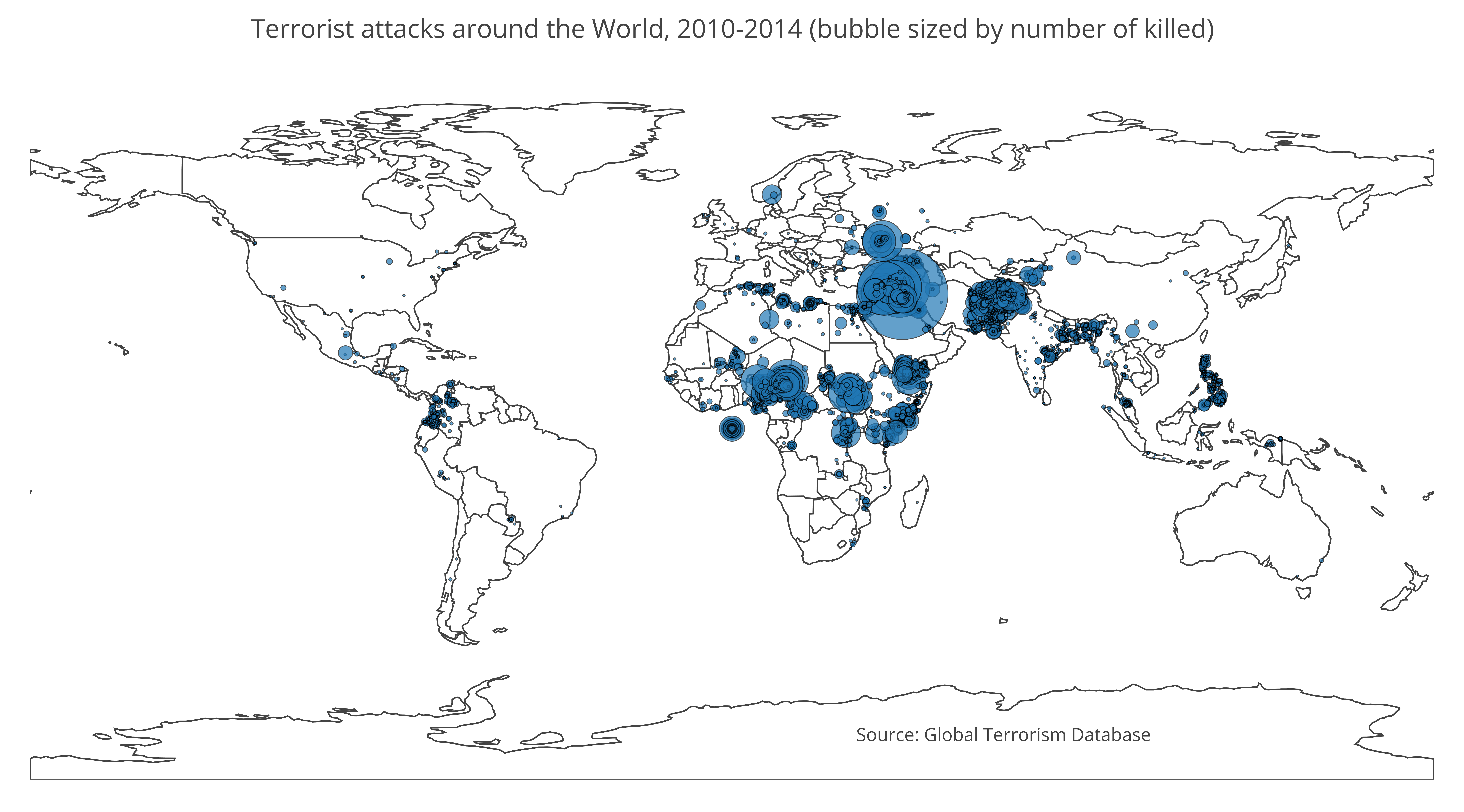 terrorist attacks around the world 2010 2014 bubble sized by number of killed